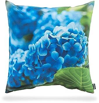 H.O.C.K. Kissen Outdoor ca. 50x50 cm Hortensien blau Blumenmotiv ...