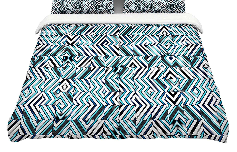 Kess InHouse Dawid ROC Maze Geometric Abstraact 2' Featherweight Queen Duvet Cover, 88 x 88,