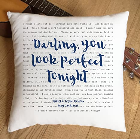 Just Print Ed Sheeran Perfect Typography Design Song Lyrics Inspired Gift Pillow Cushion Cover Ideal Cotton 2nd Anniversary Amazon Ca Home Kitchen