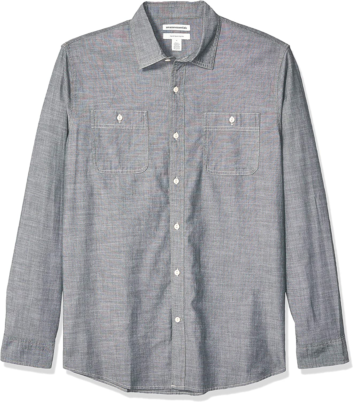 Regular-Fit Herren-Chambray-Hemd Essentials lang/ärmelig