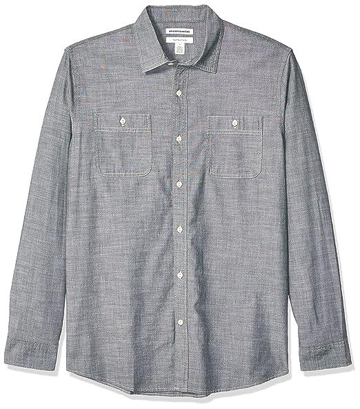 Essentials Herren-Chambray-Hemd Slim-Fit kurz/ärmelig