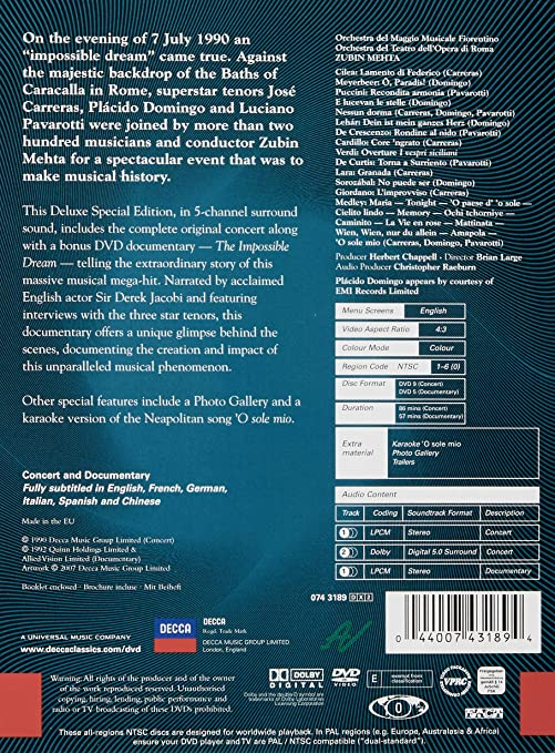 El Concierto Original De 3 Tenores - José Carreras, Plácido Domingo Y Luciano Pavarotti DVD: Amazon.es: Luciano Pavarotti, Placido Domingo, José Carreras: ...
