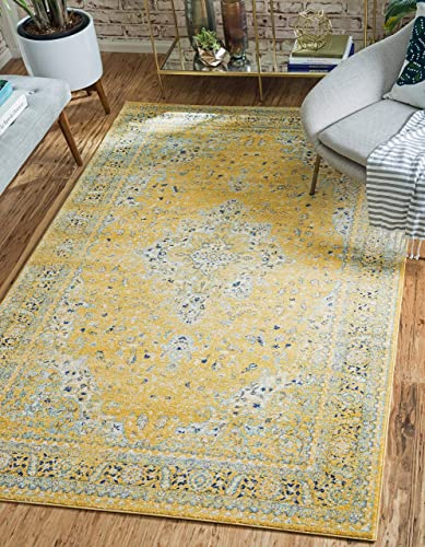 Unique Loom Tradition Collection Classic Southwestern Yellow Area Rug 5' 0 x 8' 0