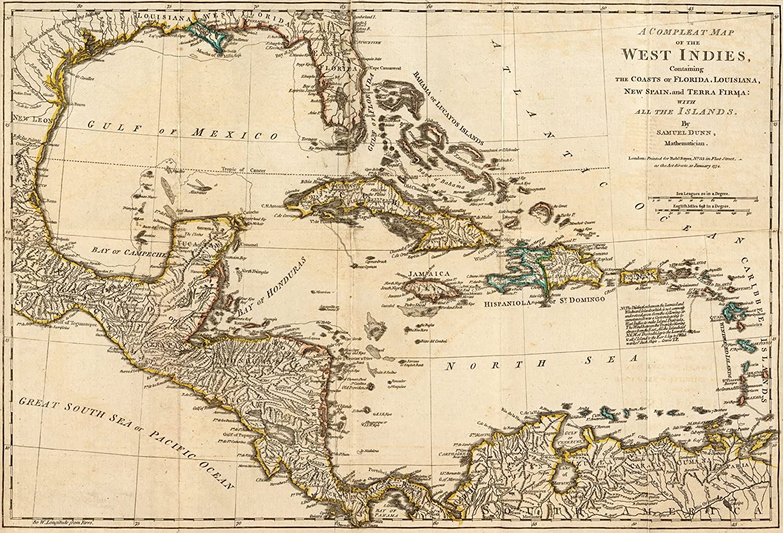 1776 Old British Guerra mapa Cuba Florida Occidental Inides – mapa Reimpresión 36