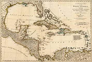 "1776 Old British Guerra mapa Cuba Florida Occidental Inides – mapa Reimpresión 36 ""x"