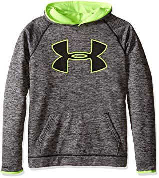 under armour youth hoodie. under armour boys\u0027 storm fleece twist highlight hoodie, black/fuel green, youth hoodie e