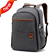 Diaper Backpack SOOHAO Baby Diaper Bags Multi-Function Travel Backpack Maternity Nappy Bags for Mom/Dad with Changing Pad,Stroller Straps,Waterproof&Stylish,Gray