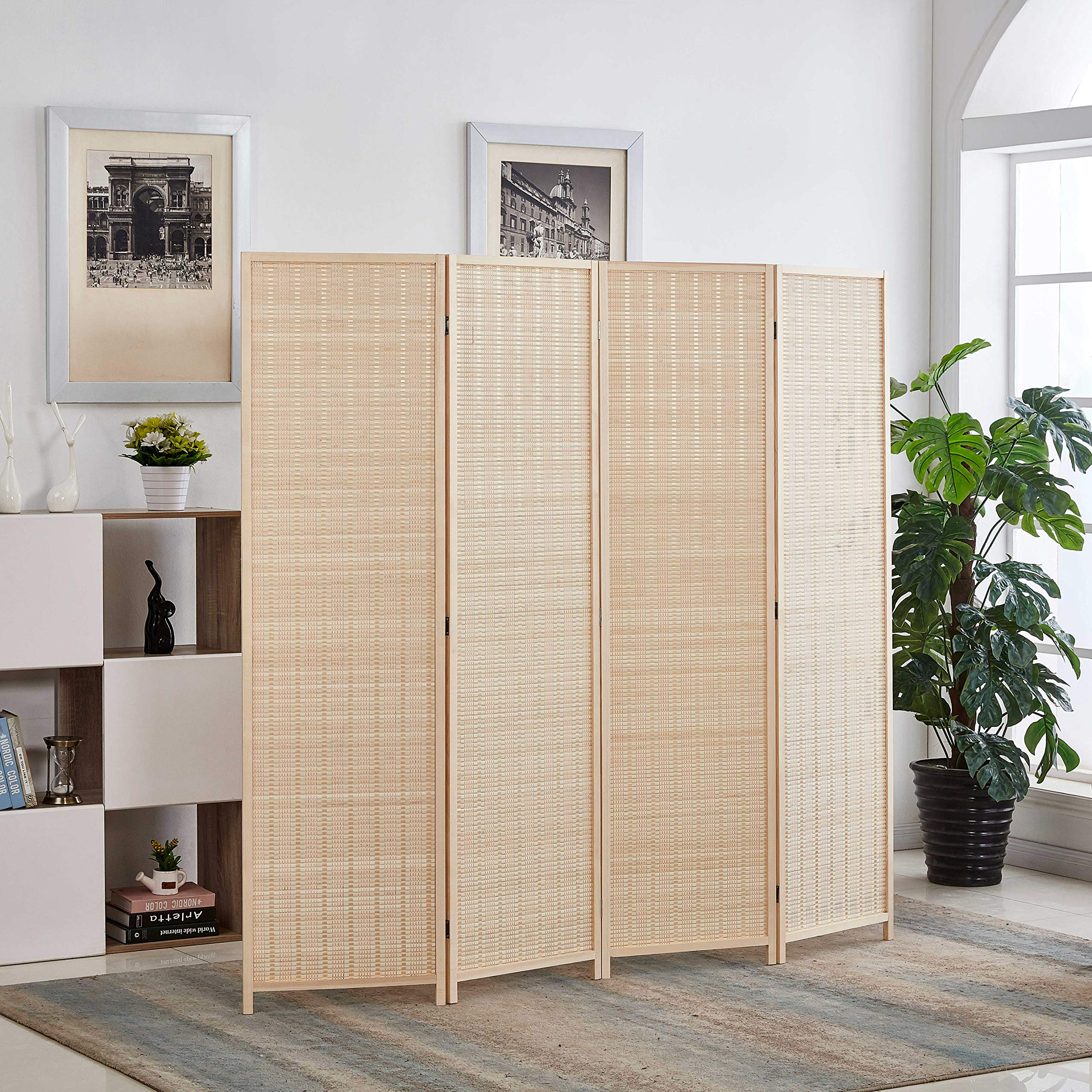 Rose Home Fashion 6 ft. Tall-Extra Wide, Bamboo Room Divider, 4 Panel Room Divider/Screen, Folding Privacy Screen Room Divider,Wall Divider,Room Partitions/Separator/Dividers-Bamboo - 4 Panel by Rose Home Fashion