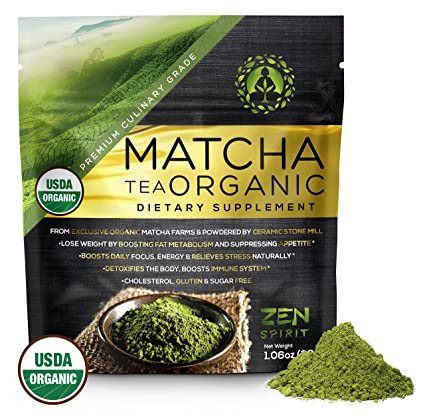 Matcha Green Tea Powder Organic, Japanese Premium Culinary Grade - USDA & Vegan Certified - 30g (1.06 oz) - Perfect for Baking, Smoothies, Latte, Iced Tea, Herbal Teas. Gluten & Sugar Free