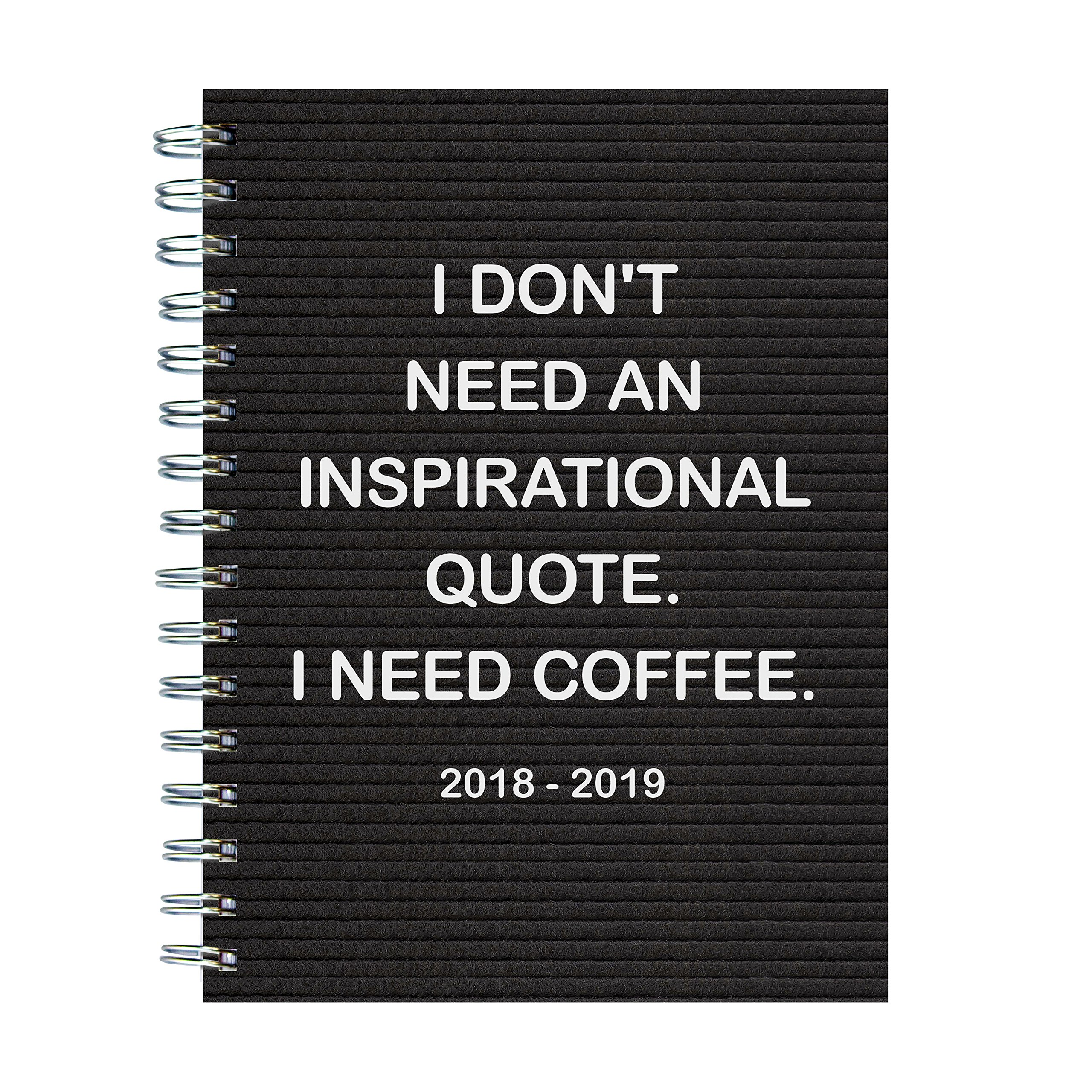 TF Publishing 19-9057A July 2018 - June 2019 Need Coffee Medium Weekly Monthly Planner, 6.5 x 8'', Black & White