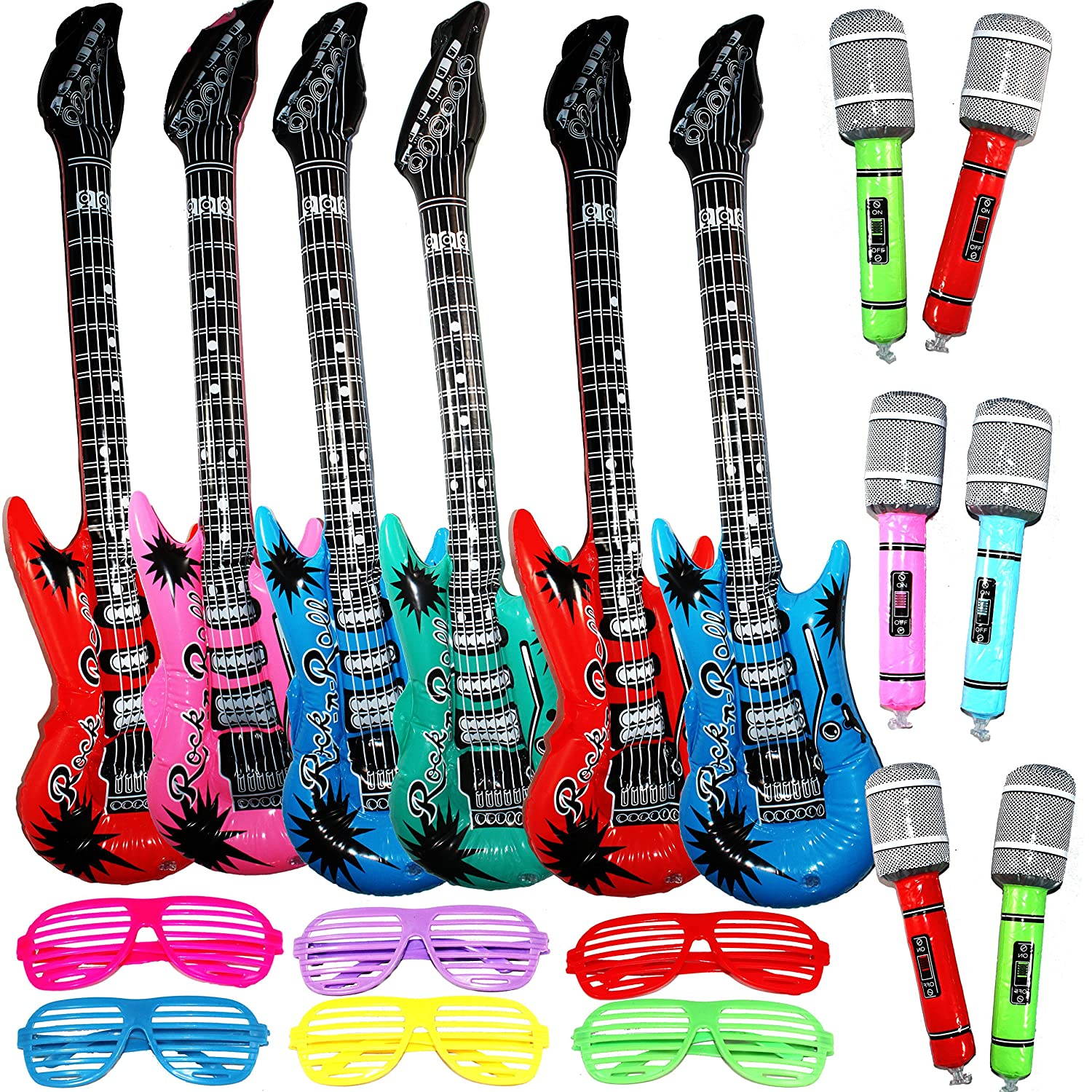 Joyin Toy Inflatable Rock Star Toy Set - 6 Electric Guitar (38 Inches), 6 Microphones and 6 Shutter Shading Glasses.