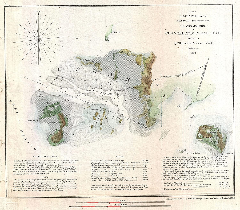 Amazon.com: 1852 U.S. Coast Survey Map of Cedar Key, Florida ...