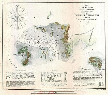 Cedar Key Florida Map.Amazon Com 1852 U S Coast Survey Map Of Cedar Key Florida