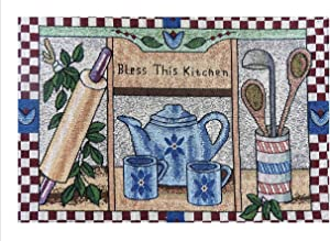 MyMadison Home Set of 6 Home Cloth Cotton Printed Placemats Bless This Kitchen Printed Designer Jacquard Collection Machine Washable Everyday Use for Dinner Table (13 X 18 Inch Multi-Coloured)