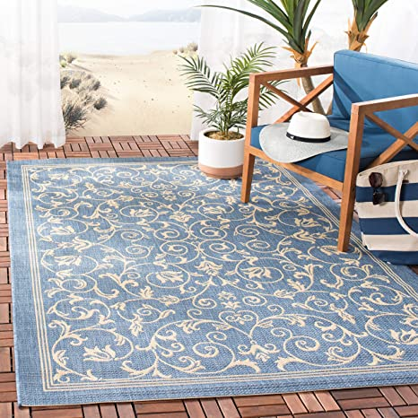 Amazon Com Safavieh Courtyard Collection Cy2098 Scroll Indoor Outdoor Non Shedding Stain Resistant Patio Backyard Area Rug 5 3 X 7 7 Blue Natural Furniture Decor