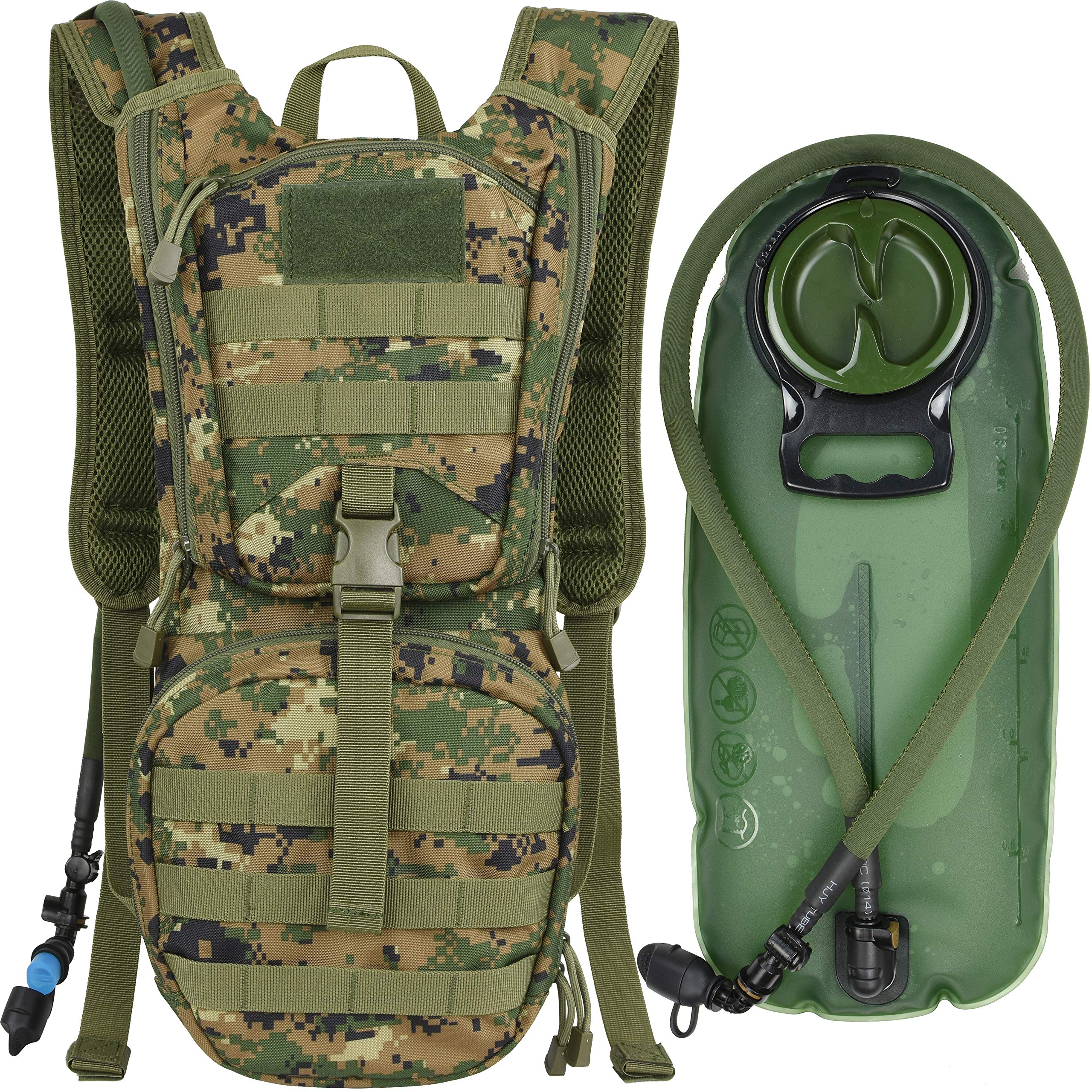 MARCHWAY Tactical Molle Hydration Pack Backpack with 3L TPU Water Bladder, Military Daypack for Cycling, Hiking, Running, Climbing, Hunting, Biking (Digital Woodland) by MARCHWAY
