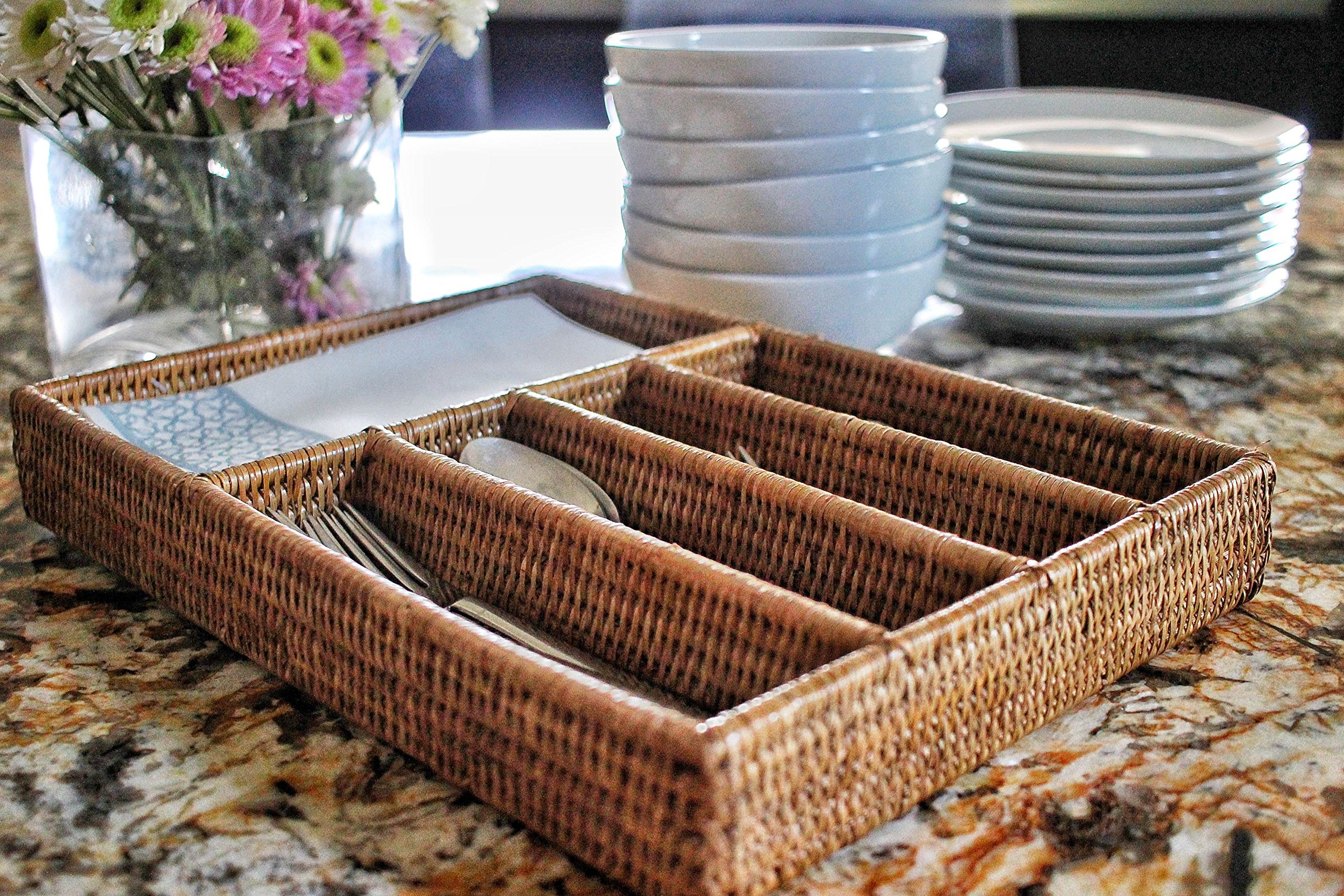 Artifacts Trading Company Rattan 5 Section Cutlery Tray, 16'' L x 15'' W x 3'' H by Artifacts Trading Company (Image #3)