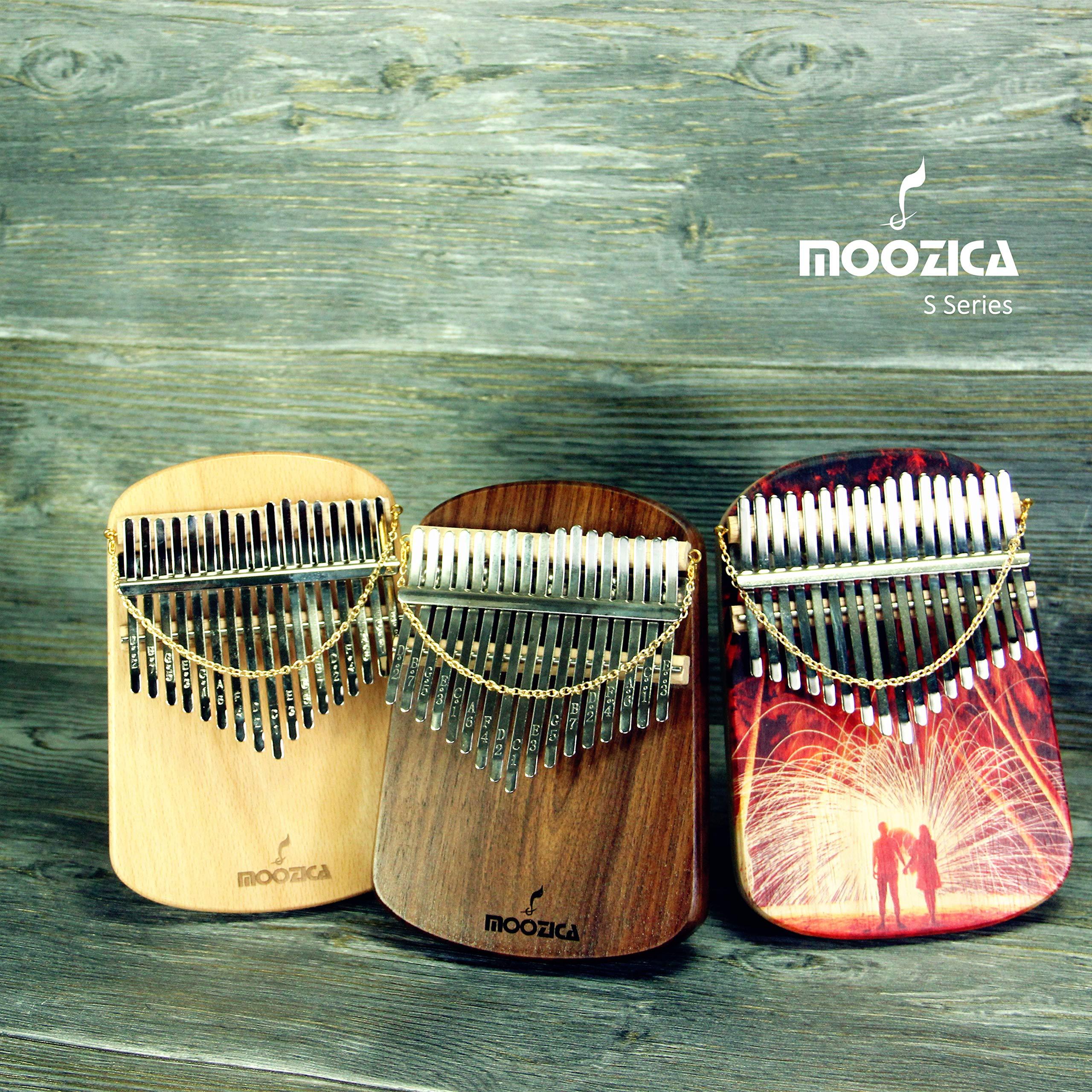 Moozica Kalimba 17 Keys Solid Walnut Wood Kalimba, Solid Walnut Wood Single Board Thumb Piano Marimba with Learning Instruction(K17S-W) by Moozica (Image #7)