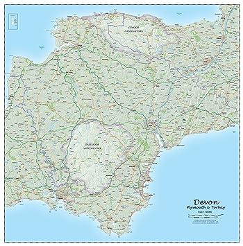 devon county laminated wall map