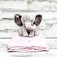 Elephant Plush with Baby Statistics - Newborn Baby Gift - Baby Keepsake for Nursery