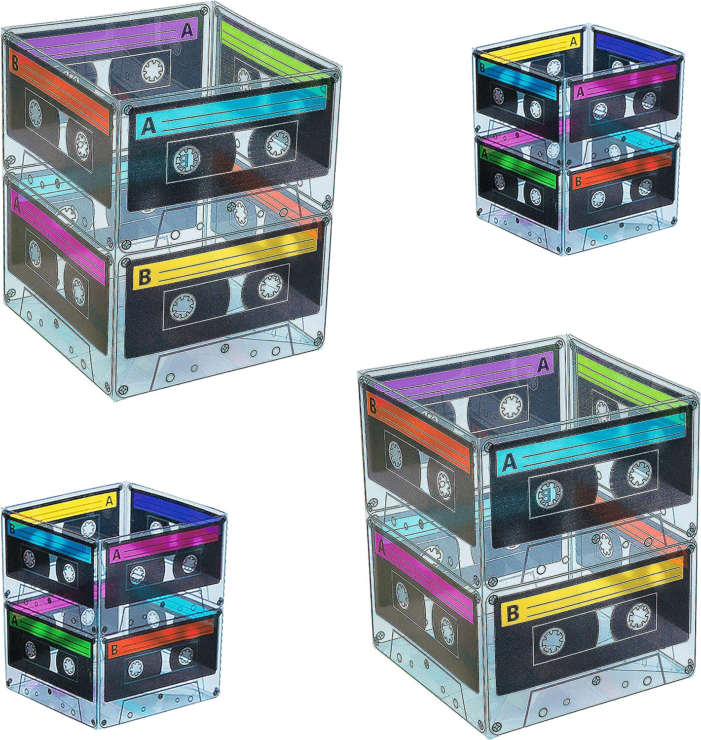 Cassette Tape Bucket Centerpiece (4 Pack) 80s Party Supplies, 90's 80s Theme Birthday Party Decoration Cassette Tape Table Decor, Retro Hip Hop Pop Music Culture Party for Adults & Kids by 4E's Novelty