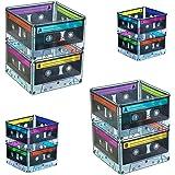 Cassette Tape Bucket Centerpiece (4 Pack) 80s Party Supplies, 90's 80s Theme Birthday Party Decoration Cassette Tape Table De