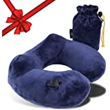 SOFT TRAVEL PILLOW with Neck Support for Airplane - Blow Up Inflatable Neck Pillow Blue - Foldable Compact U-Shaped Kneck Pillow for Travel - Inflatable Travel Pillow - Great Chrlstmas Glft on Special