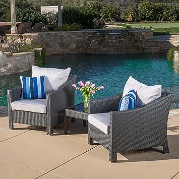 Amazon.com: Caspian 3 Piece Grey Outdoor Wicker Furniture Chat Set: Garden  U0026 Outdoor
