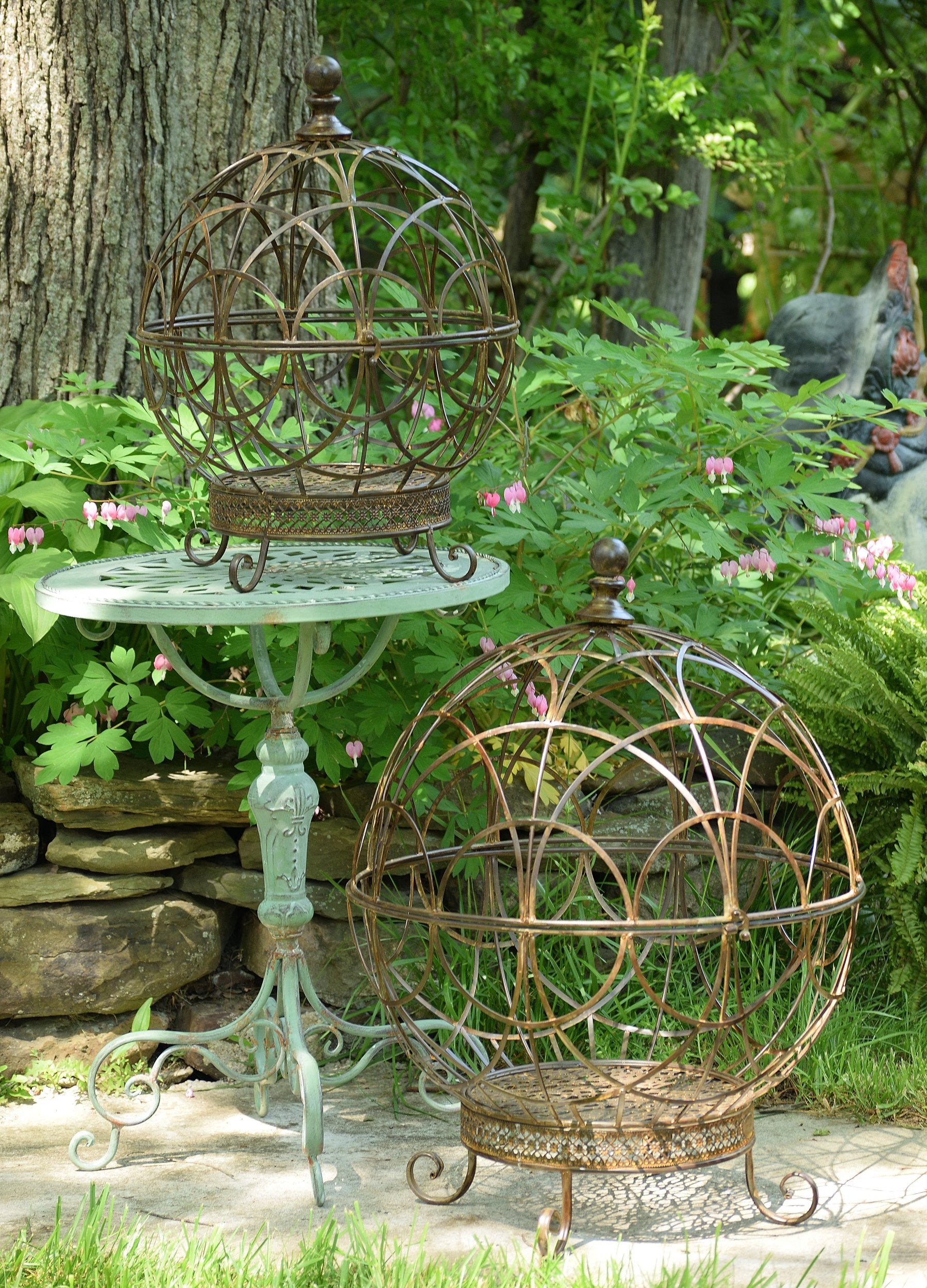 Spherical Globe Plant Cages (set of 2) (Rust)