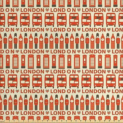 Amazon.com: Ambesonne London Decor Fabric by the Yard, Stylish ...