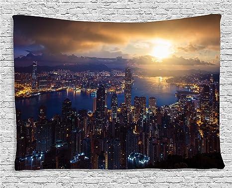 Camera Da Letto Blu Notte : Urban decor tapestry by ambesonne aerial skyline di notte