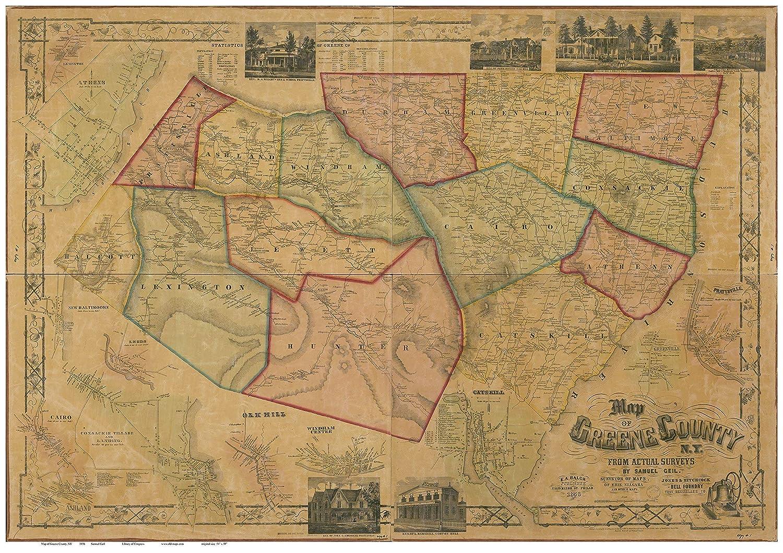 amazon com greene county new york 1856 wall map with homeowner