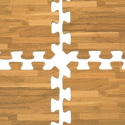 amazon com displays2go interlocking floor mats with wood grain