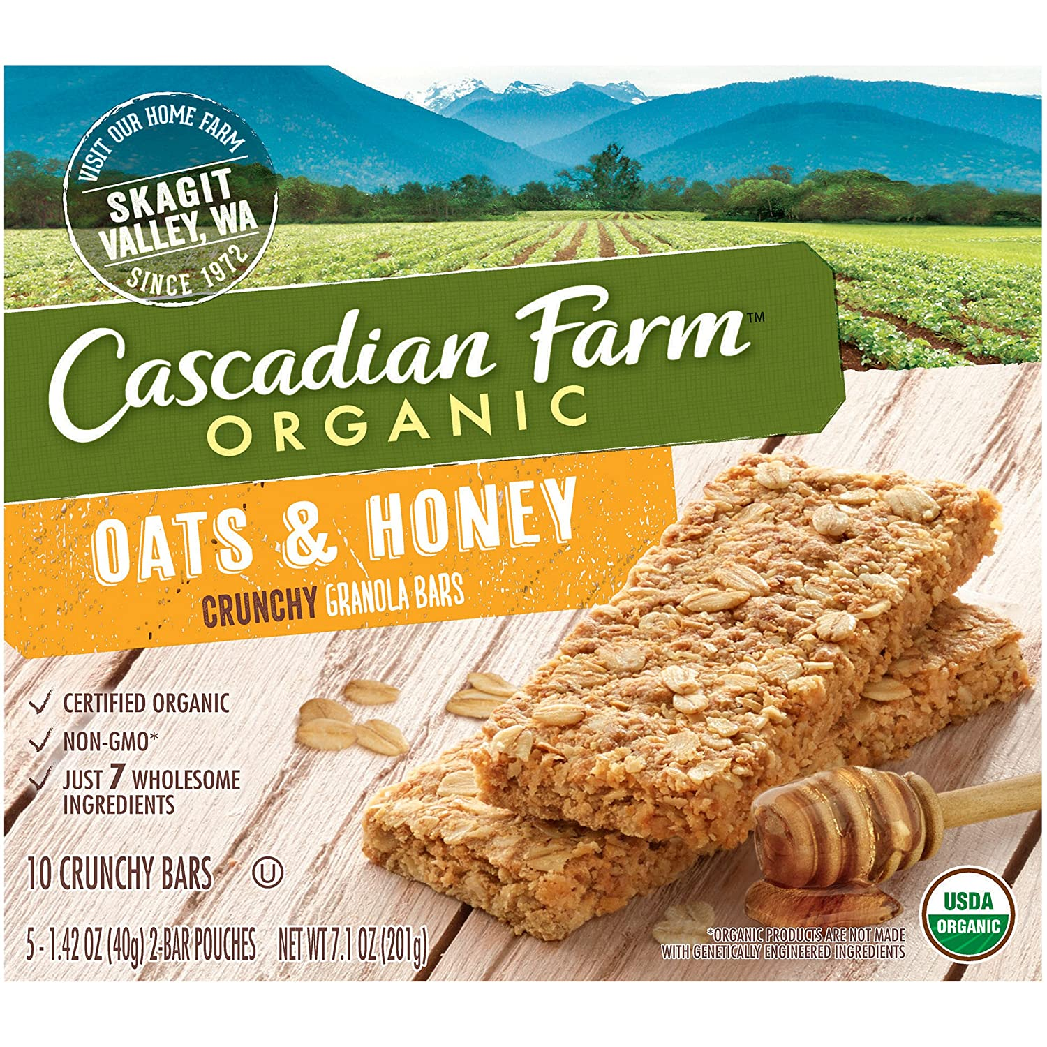 Cascadian Farm Organic Crunchy Granola Bar Non GMO Oats And Honey 10 Bars  In 5   1.42 Oz 2 Bar Pouches: Amazon.com: Grocery U0026 Gourmet Food