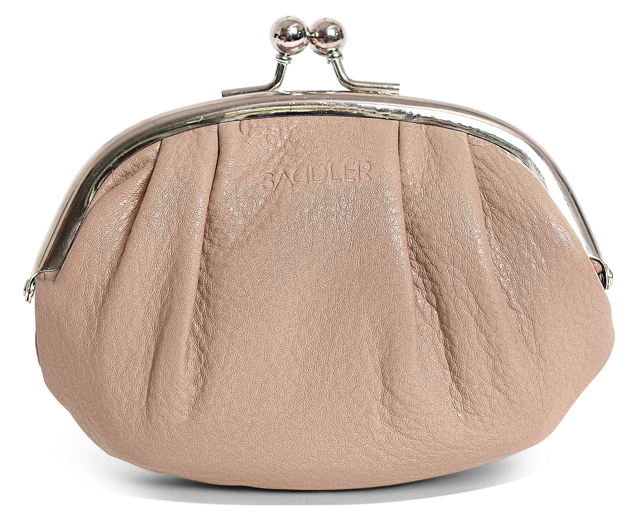 SADDLER Genuine Leather Womens Coin Purse Cosmetic Pouch With Frame Clasp - Taupe