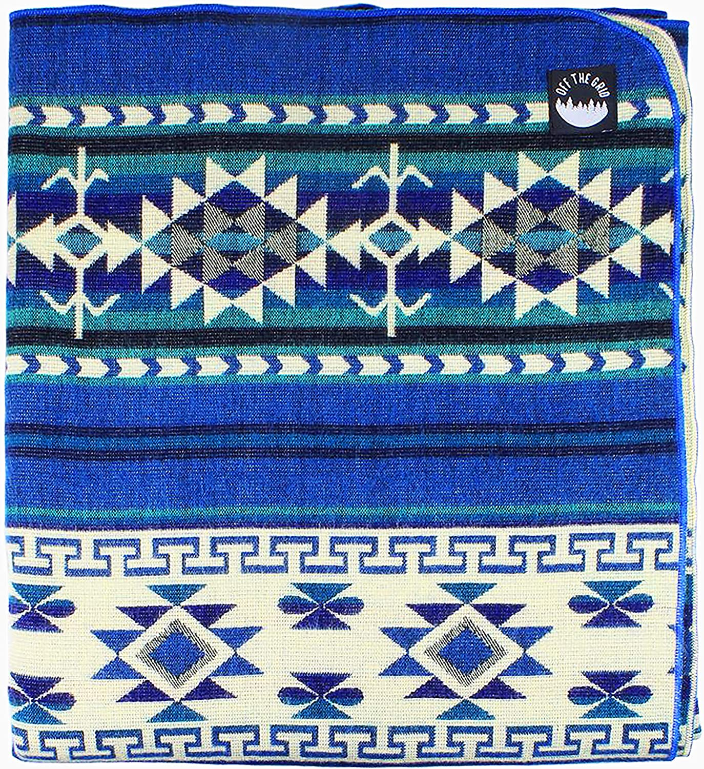 Off the Grid Inca Fuzzy Ecuadorian Blanket - Aztec/Southwest Artisanal Style - Use As Fall Throw Blanket, Camp Blanket, or Fluffy Cover for Indoors and Outdoors (Blue, Medium)