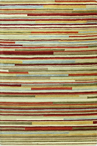 Bashian Punjab Collection Matchsticks 100-Percent Wool Pile Area Rug, 2-Feet 6 by 8 , Multicolor