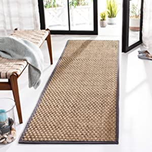 Safavieh Natural Fiber Collection NF114Q Basketweave Natural and Dark Grey Summer Seagrass Area Rug (2' x 3')