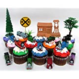 Thomas The Train 12 Piece Birthday Cupcake Topper Set Featuring Thomas, Percy, James, Friends and Decorative Themed…