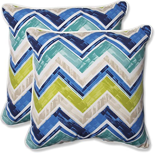 Pillow Perfect Outdoor Marquesa Throw Pillow, 18.5-Inch, Marine, Set of 2