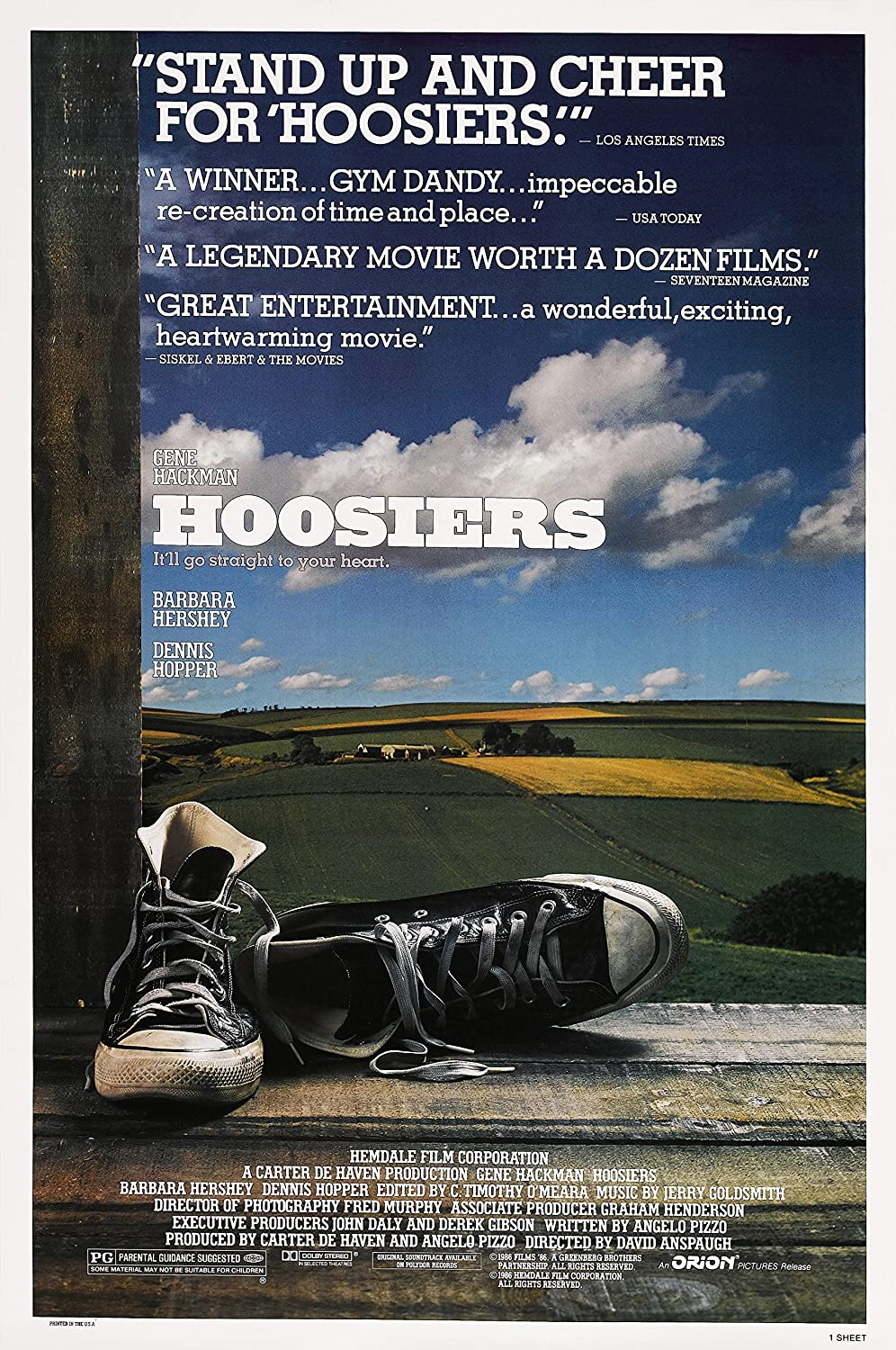 Amazon.com: Hoosiers (1986) Movie Poster 24x36 inches Sports: Posters &  Prints