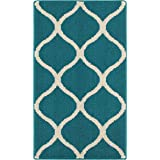 Maples Rugs Rebecca Contemporary Kitchen Rugs Non Skid Accent Area Carpet [Made in USA], 1'8 x 2'10, Teal/Sand