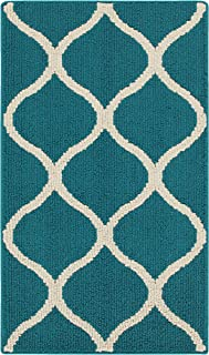 product image for Maples Rugs Rebecca Contemporary Kitchen Rugs Non Skid Accent Area Carpet [Made in USA], 1'8 x 2'10, Teal/Sand