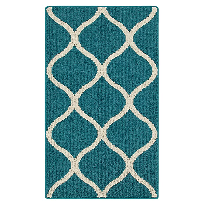 Maples Rugs Kitchen Rug - Rebecca 1'8 x 2'10 Non Skid Small Accent Throw Rugs [Made in USA] for Entryway and Bedroom, Teal/Sand