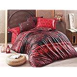 lamodahome 2pcs寝室ソフトColoredポリエステル65%コットン35%シングルキルト羽毛布団カバーセットクラシックエレガントな赤とブラックデザイン形状パターンシングルベッド掛け布団なし