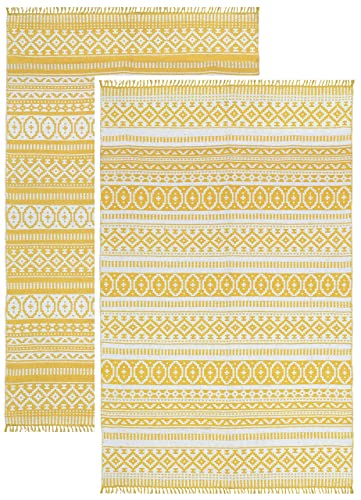 Complex Geo Cotton Rug, Yellow, 4-Feet by 6-Feet