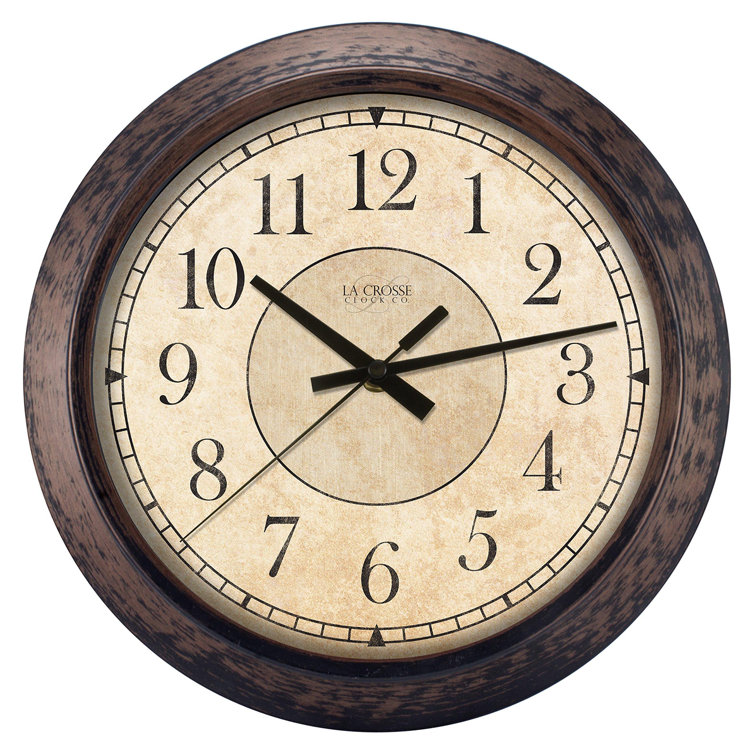 Lacrosse 404-2635 Analog Wall Clock, 14'', Rustic Brown