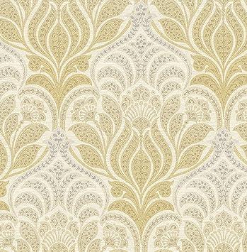Kenneth James 2671 22427 Twill Yellow Damask Wallpaper