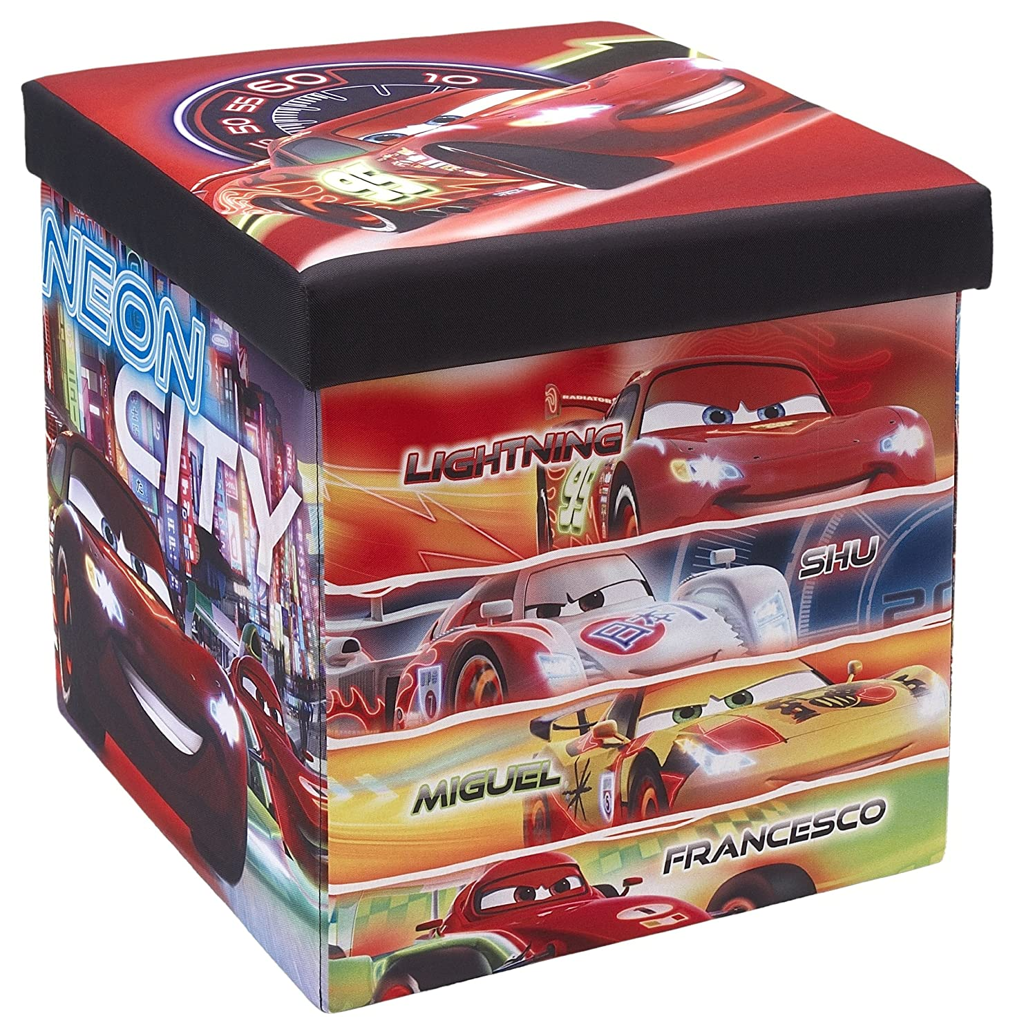 The FHE Group Disney Foldable Storage Ottoman, Cars, Red 250060-003