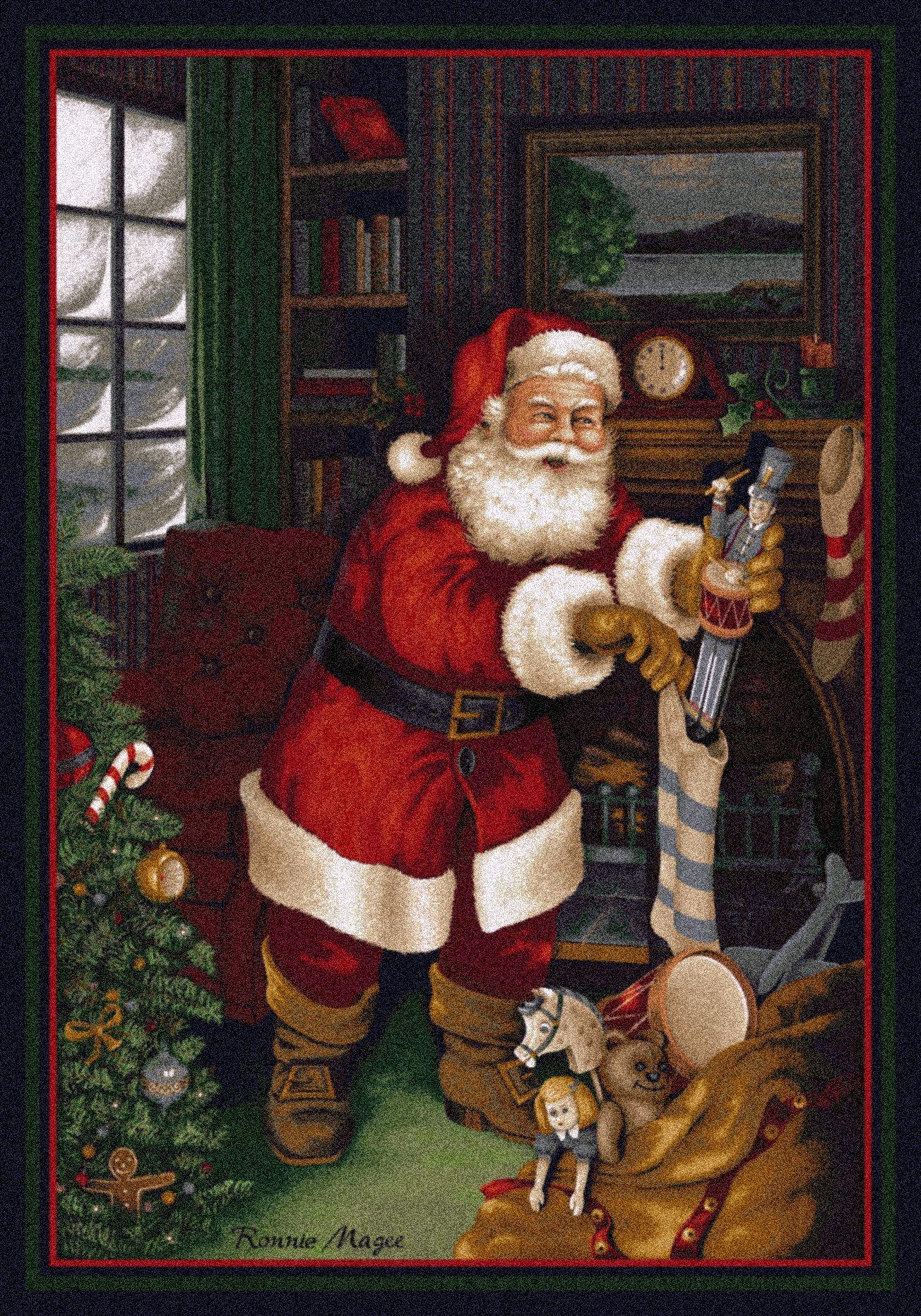 Milliken Holiday Collection Santa's Visit, 5'4'' x7'8 Rectangle, Kris Kringle